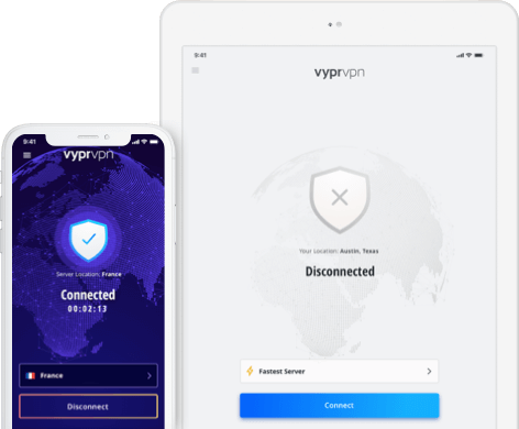 iPhone and iPad device showing VPN app for iOS connection on screen